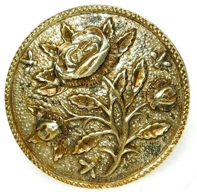 ENCHANTING Antique VICTORIAN Etched BRASS ROSE & Tiny BEES Button #128