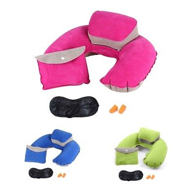 U Shape Pillow Inflatable Headrest Neck Support Blow Up Soft Travel Air Cushion
