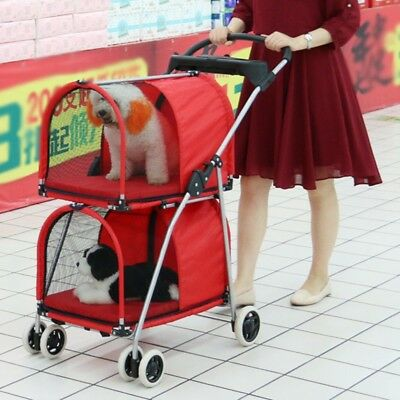 Newly Pet Stroller Double Deck Puppy Dog Cat Carrier Kennel Practical Cart Buggy