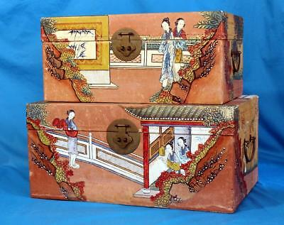 Pair Of Fine Antique 1900 Chinese Hand Painted Pigskin Wedding Trunks