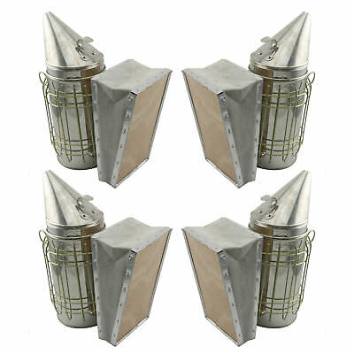 Set of 4 Bee Hive Smoker Stainless Steel w. Heat Shield Beekeeping Equipment  !