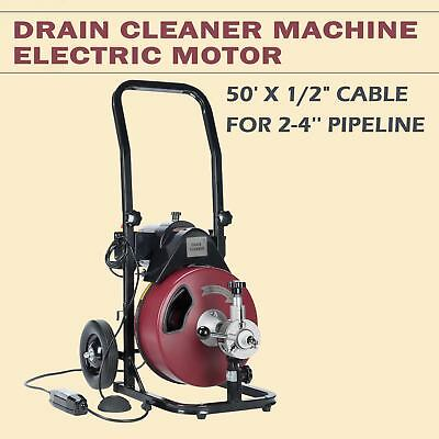 Drain Snake Cleaning Machine Kit w/ 4 Cutter & Foot Switch 50FT*1/2