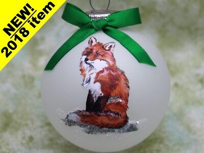 W010 Hand-made Christmas Ornament  - cute regal Red Fox sitting
