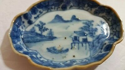 """Antique Blue Chinese Export Scalloped 4 1/2"""" Tray"""