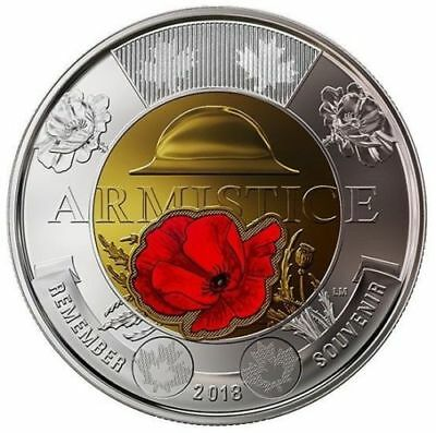 Canada 2018 $2 Toonie Armistice Poppy BU Coloured Coin From Special Wrap Roll