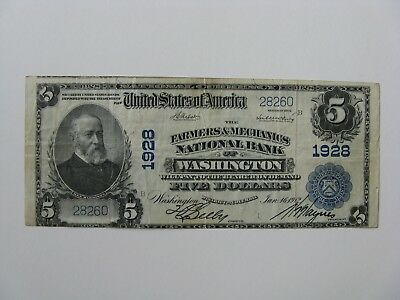 1912 $5 Farmers & Mechanics National Bank of Washington~Ben Harrison~Five Note