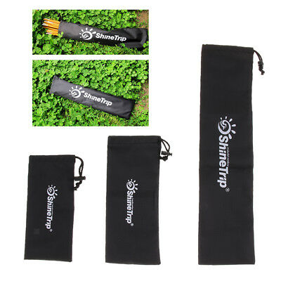 Black Waterproof Storage Bag for Tent Stakes Awning Pegs Travelling Hiking