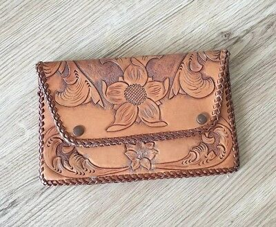 Vintage Tooled Leather Clutch Bag Wallet Pouch Purse