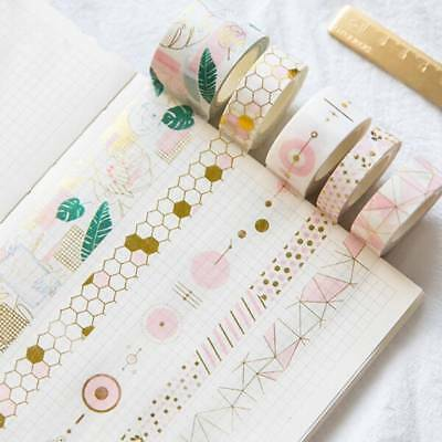 Pink Gold Foil Washi Tape Set Scrapbooking Sticker Planner Masking Adhesive Tape