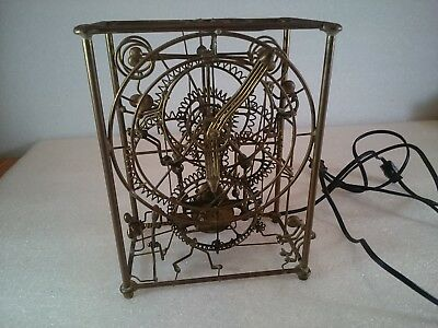 Vintage Brass 6 Man Mantle Clock Kinetico Bradt Kinetic Art not working