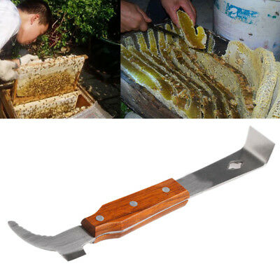 Wooden Handle Bee Hive Hook Scraper Stainless Steel Beekeeping Tools Equipment