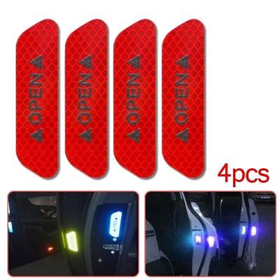 4pcs Super RED Car Door Open Sticker Reflective Tape Safety Warning Decal DIY