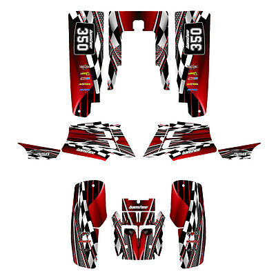 Yamaha Banshee 350 graphics decal kit thick 24 mil racing vinyl #2500-Red