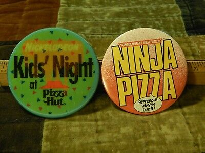 '90s PIZZA HUT Promo [LOT of 2] Buttons_Pins ~ Nickelodeon Kids' Night + TMNT ~