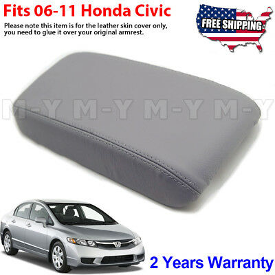 Fits 06-11 Honda Civic Gray Fabric Center Console Lid Armrest Cover Protector