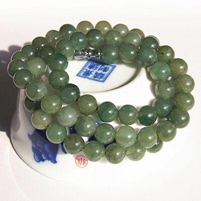 Natural deep green jadeite jade 8MM round bead good luck women necklace