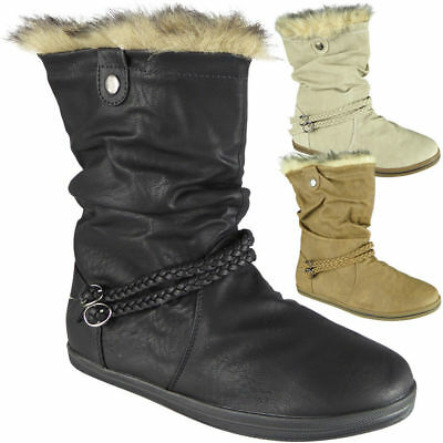 41d948d167fc1b Womens Pixie Mid Calf Rouched Flat Pull On Faux Fur New Ladies Slouch Boots  Size
