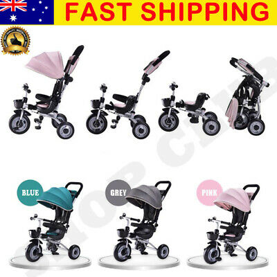 10% OFF Deluxe Foldable Kid Tricycle Baby Toddler Bike Trike Canopy Parent Push