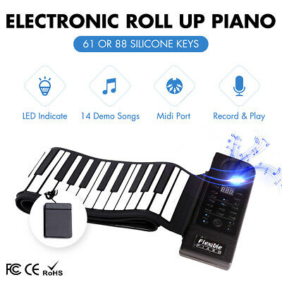 2019 PORTABLE WIRELESS Keyboard 61 Keys MIDI Roll Up