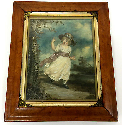 Antique Embroidered Picture Beautiful Girl  Painting Framed silk 19thc sampler