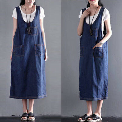 Women Sleeveless Sundress Pinafore Dungarees Overalls Skirt Midi Denim Dress