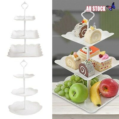3 Tier Cake Stand Afternoon Tea Wedding Plates Party Embossed Tableware Tray ++