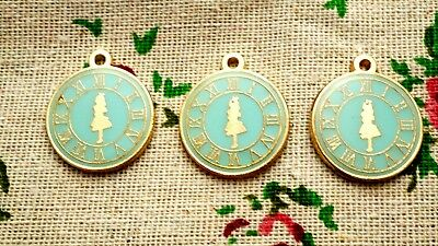 Clock watch 2 charms pale blue & gold vintage style  jewellery supplies C712
