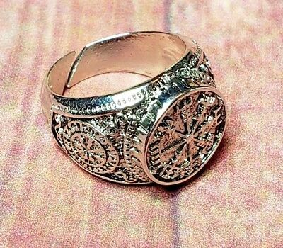 Viking Vegvísir Norse Rune Pagan Stainless Steel RING Men's Protection Jewelry