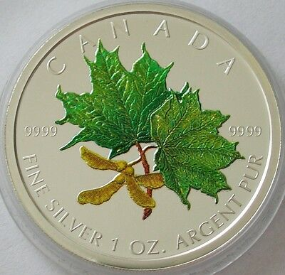"2002 CANADA 1oz .9999 SILVER ""SPRING"" MAPLE LEAF $5 CERTIFIED RCM COLOURED COIN"
