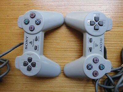 2 Original Official Sony Playstation 1 PS1 Controller SCPH-1080 gray