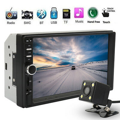 "7"" Double 2 Din Touch Screen Car MP5 MP3 Player Bluetooth Stereo FM Radio+Camera"