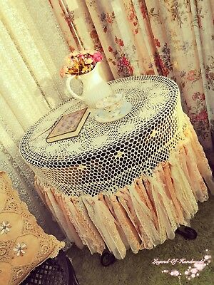 """BOHO Rustic Vintage Crochet Lace Tablecloth~60""""/72""""/90"""" Round~Beige~Shabby Chic~"""