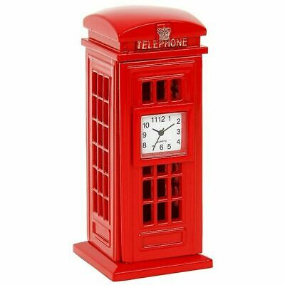 Techno Die Cast Red Telephone Box Miniture Clock Collectable