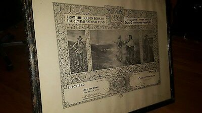 1936 Large Framed Certificate Golden Book Of Jewish National Fund Connecticut