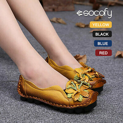 SOCOFY Women Flats Ballet Boat Slip On Soft Loafers Real Leather Ballerina Shoes