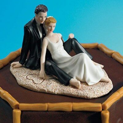 Wedding Cake Topper Bride and Groom Sitting On The Beach