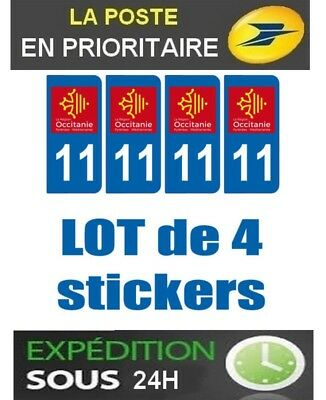 4 Stickers Plaque Auto Immatriculation Departement Blason 11 Region Occitanie