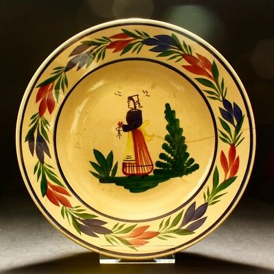 Vintage Henriot Quimper France Faience French Breton Lady Large Pottery Bowl A/F