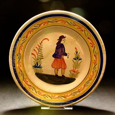 Vintage Henriot Quimper France Faience French Breton Peasant Pottery Plate A/F