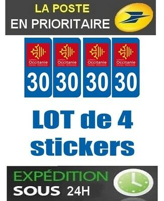 4 Stickers Plaque Auto Immatriculation Departement Blason 30 Region Occitanie