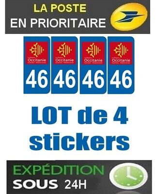 4 Stickers Plaque Auto Immatriculation Departement Blason 46 Region Occitanie