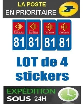 4 Stickers Plaque Auto Immatriculation Departement Blason 81 Region Occitanie