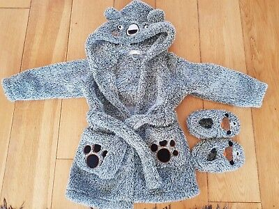 Toddler Boys Dressing Gown And slipper Set M&Co 18-24
