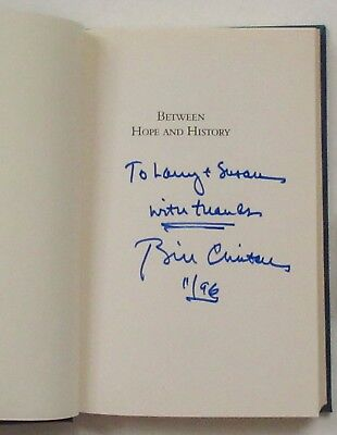 """BILL CLINTON *SIGNED* """"Between Hope and History"""" (Times Books, 1996, Hardcover)"""