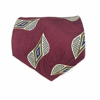 HUGO BOSS Burgundy Beige Blue Geometric 100% Silk Men's Necktie Made In Italy