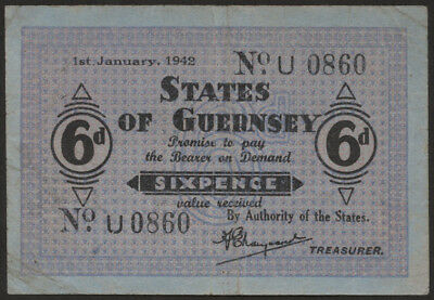 Ro.643 6 Pence 1942 (3) States of Guernsey Pick 24