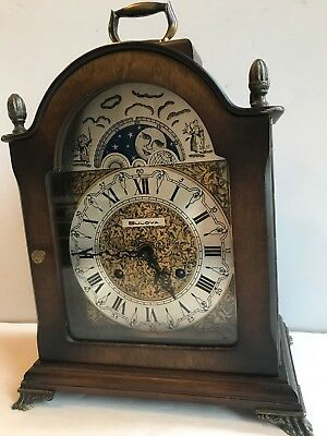 Vintage Rare Bulova Moon Phase Mantle Clock  Germany