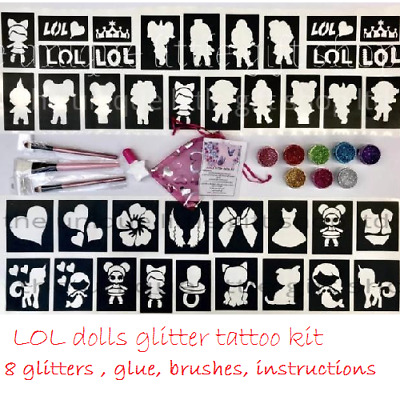 GLITTER TATTOO KIT LOL DOLLS 8 glitters 1 glue brushes OR REFILLS drop down menu