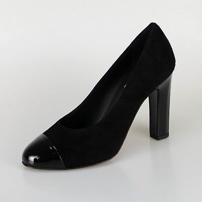 6405252b82f4 NIB CHANEL Black Suede And Patent Leather Cap Toe Pumps Heels Shoes 6 37