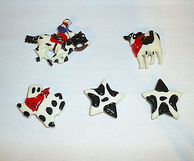 Texas Button Covers Set of 5 Cowboy Star Cow Texas State Western Horse Rodeo